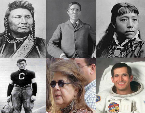A mosaic of six photos of Native American over time, from military leader, to traditional chief, to football player, to astronaut.