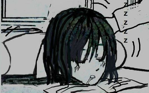 A Japanese-style black and white cartoon drawing of a young boy with black hair sleeping on a school desk.
