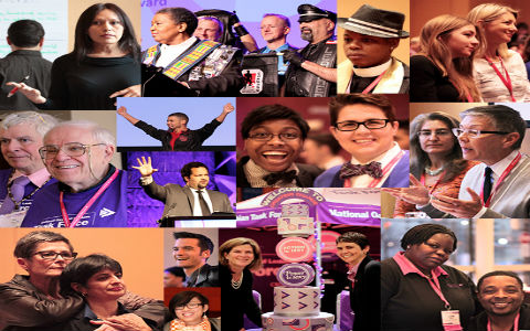 A collage of a wide variety of people smiling and cheering, with a dominant purple color motif.