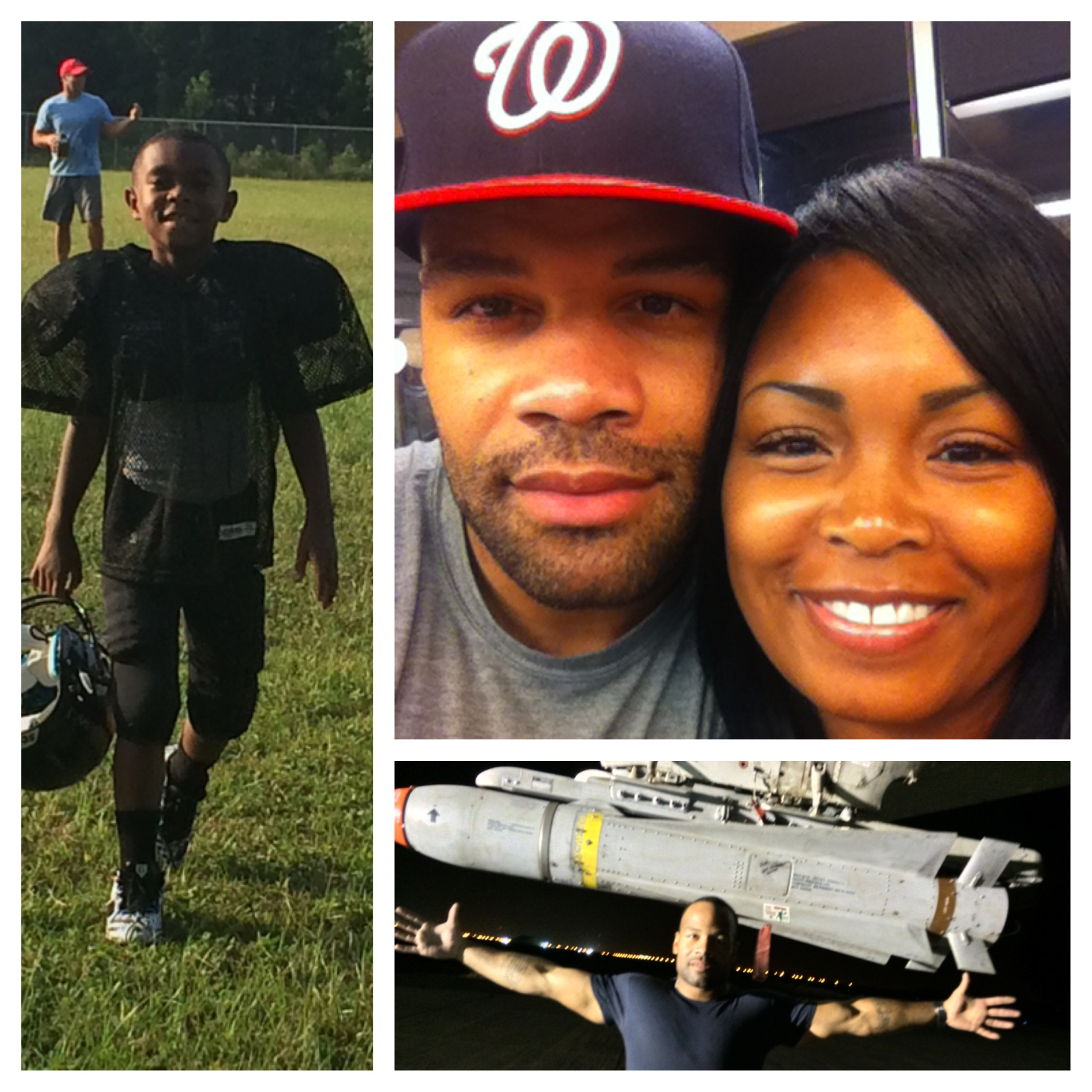 on the left, a photo of a middle-school aged boy with short brown hear wearing football padding and a black jersey; on the right, a close shot of a young woman with straight black hair and a young man with a blue baseball cap, both looking at the camera; on the bottom, a young man with large muscles wearing a blue t-shirt, standing arms outstretched in front of a model of a space ship.