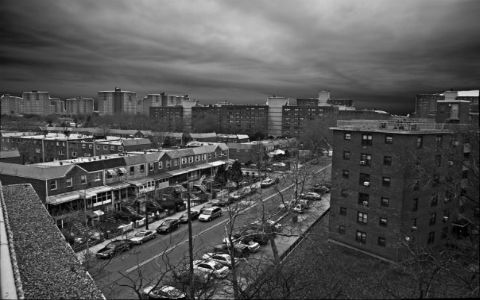 A black and white shot of a populated urban street taken from the roof of a building.