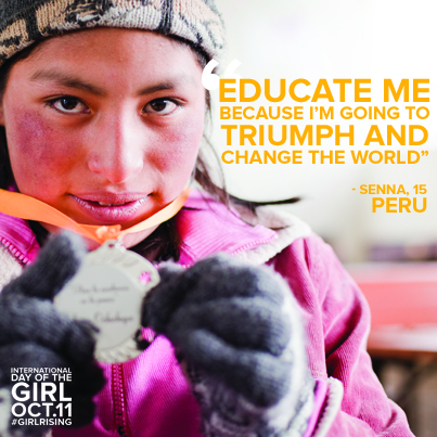 "An image of a teenage girl wearing a wool cap and a pink winter coat holding a medal in both hands, with yellow text reading ""Educate me because I'm going to be a triumph and change the world."""