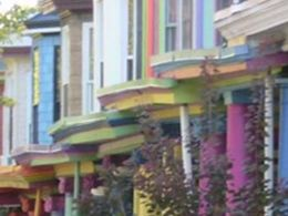"Brightly colored Victorian row houses in Charles Village, known as the ""painted ladies."""