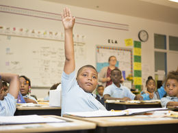 A young student in Jonathan Hogue's D.C. classroom