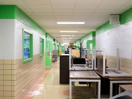 An unfinished hallway in the new pilotED school building