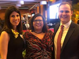 TFA Miami-Dade Executive Director, Samantha Hoare, with Ms. Laura Haim (Miami-Dade '07) M-DCPS District-Wide Rookie Teacher of the Year Award Winner and Mr. Chris Fisk, District-Wide Rookie Teacher of the Year Runner-Up