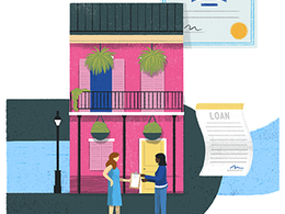 An illustration of two women talking in the street in New Orleans