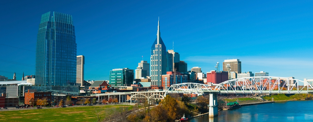 Image of landscape of Nashville during the day, with a white bridge and a large green field visible in the foreground.