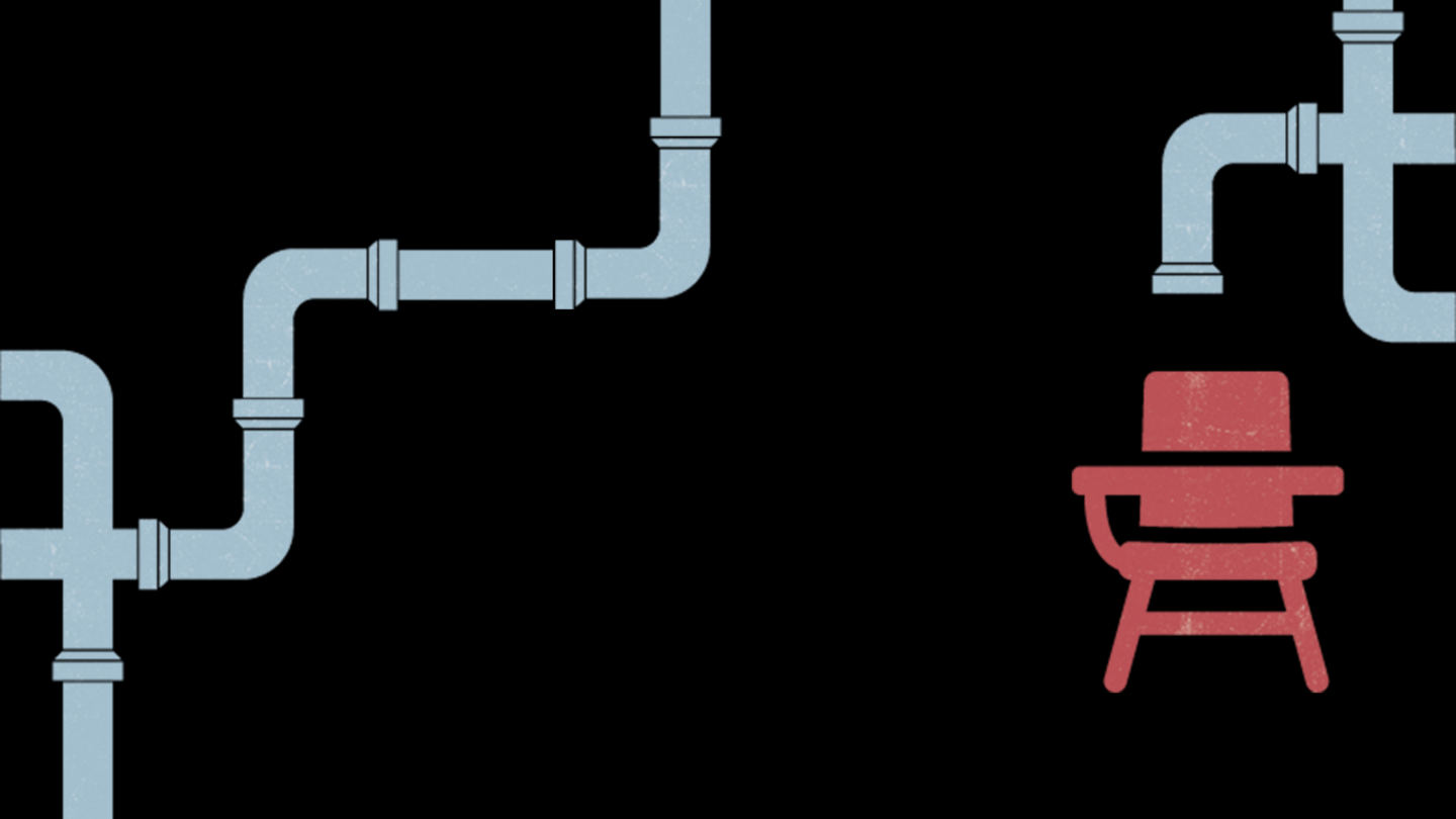 An illustration of pipes leading to a desk