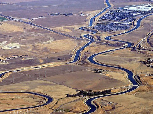 Areal view of the California Aqueduct.