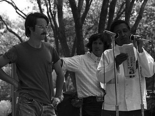 Cesar Chavez speaking at a 1974 United Farm Workers rally in Delano, CA.