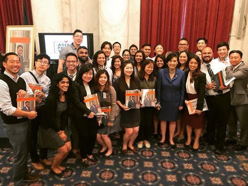 Members of the Asian American Pacific Islander Initiative posing for a group photo with Congresswoman Judy Chu.