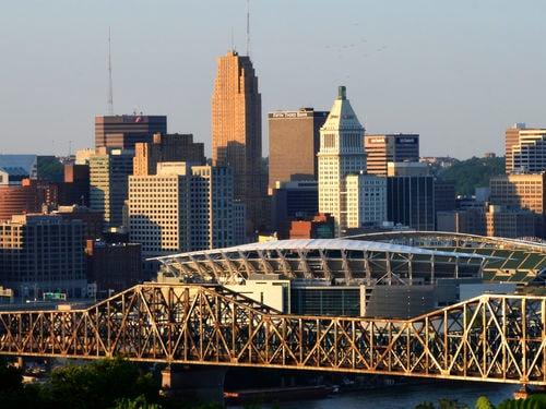 Downtown Cincinnati bridge.