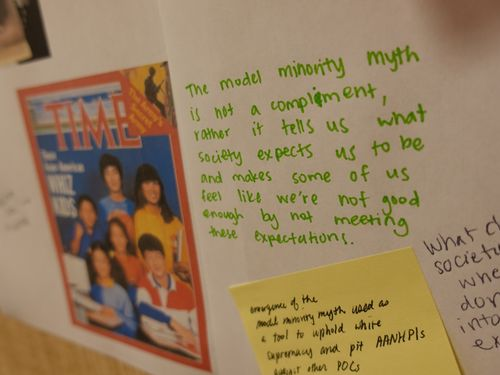 "A poster about the ""model minority"" myth."