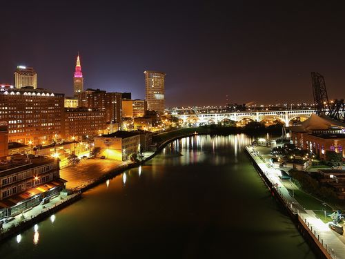 Greater Cleveland Downtown Night Skyline
