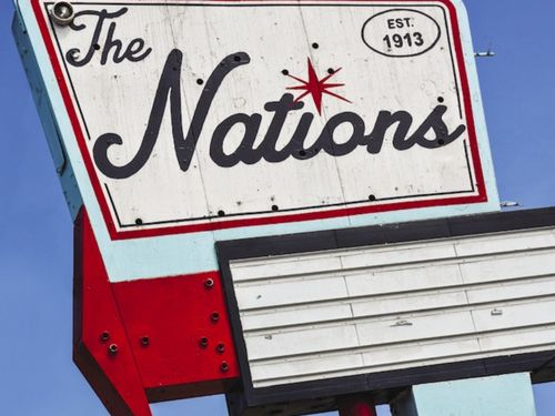 The Nations sign in the West Nashville neighborhood, in Nashville, TN.