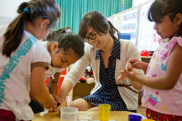 Victoria Hong (Los Angeles '11) with students at PACE Early Childhood Education.