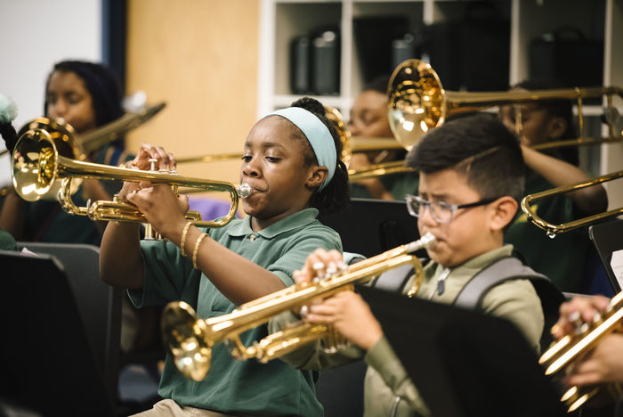 Students at Elm City College Prep in New Haven, Connecticut, take two 40-minute electives each day, like this music class.