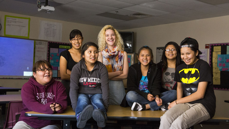 Katrina Turner (New Mexico '13) with her 7th grade students at Sanders Middle School in Sanders, Arizona.