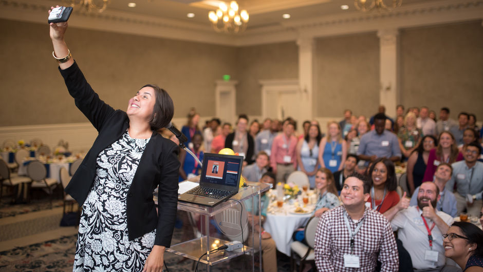 Teach For America CEO Elisa Villanueva Beard takes a selfie after addressing new corps members at institute
