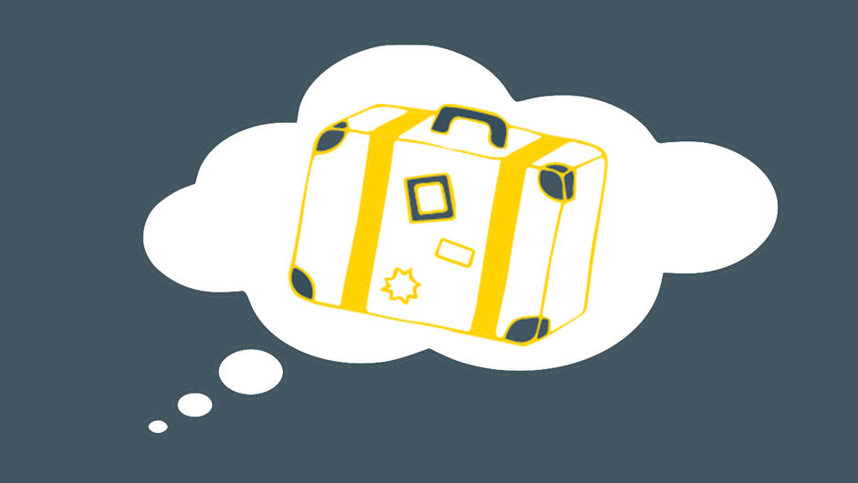 An illustration of a thought bubble with a suitcase inside