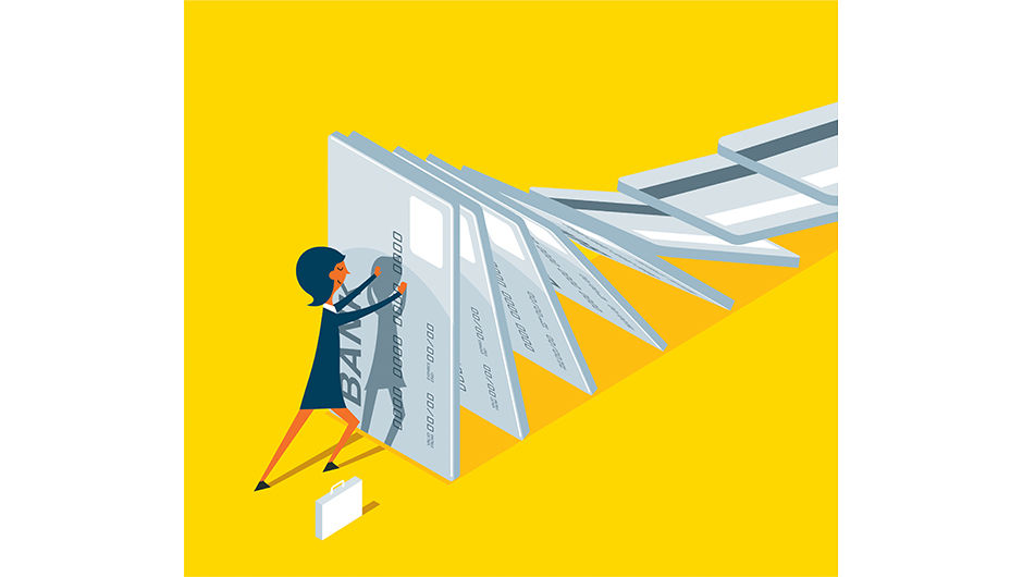 An illustration of a woman pushing a stack of falling credit cards