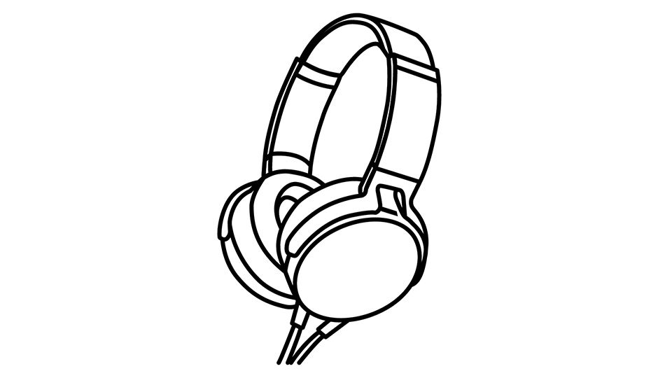 An illustration of a pair of headphones