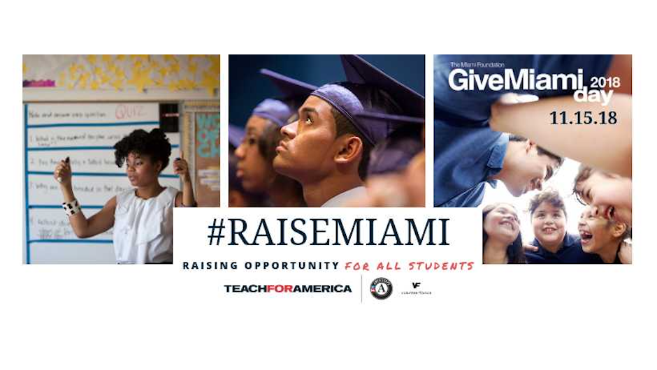 A banner collage with teacher photos and the text, #REACHMIAMI