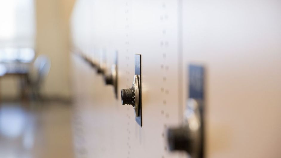 A line of lockers.