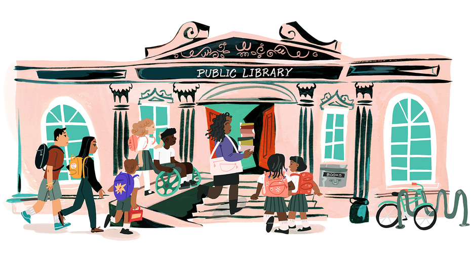 An illustration of people walking into the entrance of a library