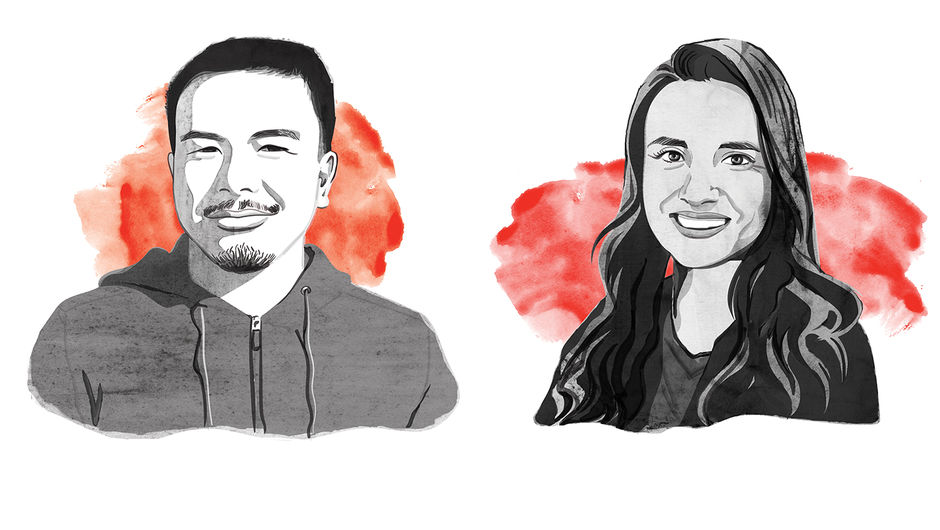 An illustration of a man and a woman with red watercolor splashed behind
