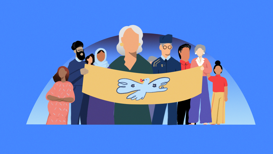 An illustration of a group of Asian American Pacific Islander individuals of varying ages and skin colors, holding a banner with a dove to symbolize peace.