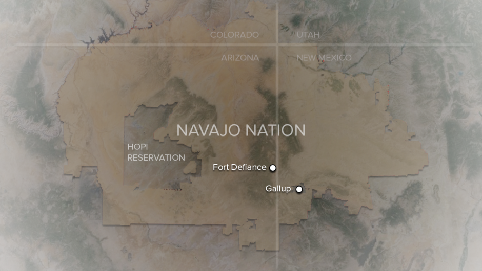 A topographical map showing the Four Corners - Colorado, New Mexico, Arizona, Utah - and outlining the regions of Navajo Nation and the Hopi Reservation; the cities Fort Defiance, AZ and Gallup, NM are both marked on the map.