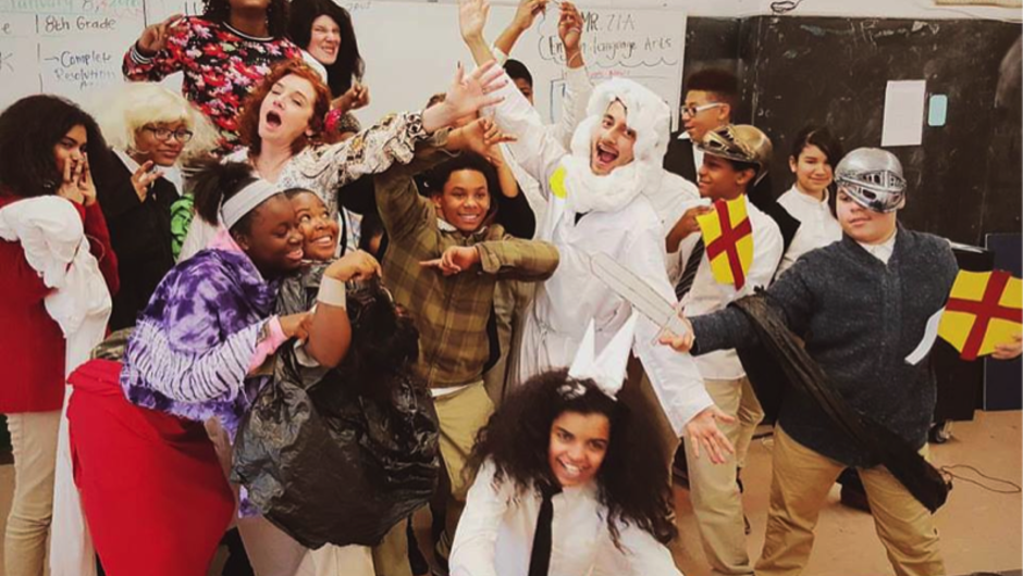 teacher and students dressed in Greek mythology costumes