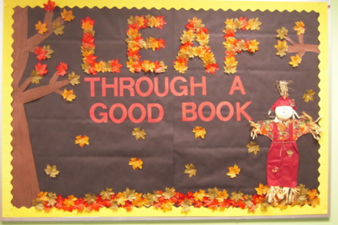 exceptional Bullentin Boards For Fall Part - 4: leaf through a good book fall bulletin board