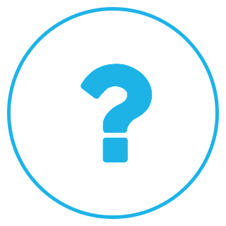 A circular logo with a white background, a blue border, and a blue question mark.
