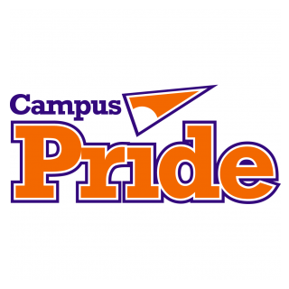 "A rectangular logo with a white background featuring purple and orange text reading ""Campus Pride"" and an orange stylized paper airplane."