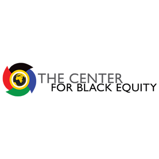 "A rectangular logo with a white background, featuring a globe surrounded by black, red, green, and blue colored arcs, and black text reading ""The Center for Black Equity."""