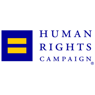 "A square logo with a white background featuring a dark blue square with a yellow equals sign on it and blue text reading ""Human Rights Campaign."""