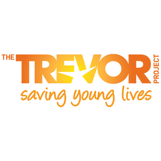 "A rectangular logo with a white background featuring orange text reading ""The Trevor Project: Saving Young Lives"" with a star in the middle and a gradient suggesting a shining sun."