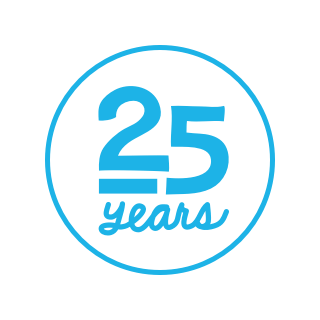 "A circular logo with a white background featuring a blue border and blue text reading ""25 years."""