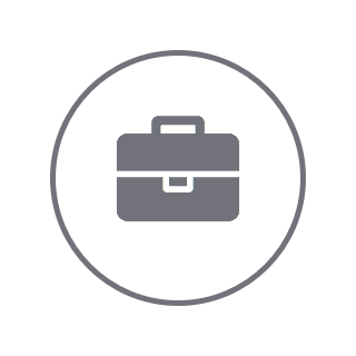 Gray circle icon with a gray briefcase inside.