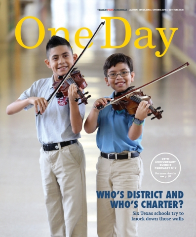 Cover for the One Day Magazine: Fall 2015 issue, showing a middle-school boy and elementary school boy, brothers with brown hair, playing violins.