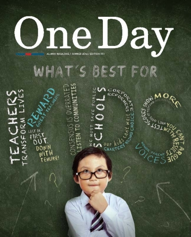 "The cover of One Day magazine, entitled ""What's best for Kids,"" featuring a green textured background with a word cloud, and a boy with black hair, black framed glasses, a white dress shirt and a purple striped tie at the bottom, looking forward with his left hand on his chin."