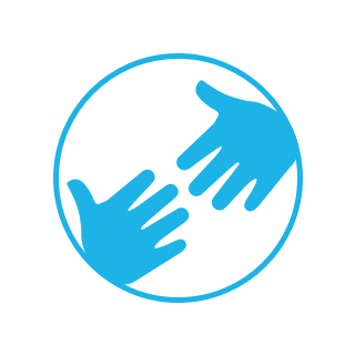 Bright blue circle icon with two outreached hands.