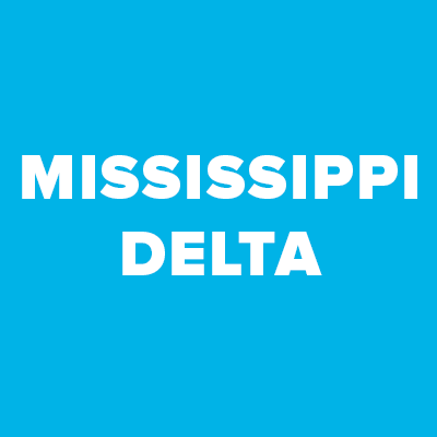 """A square image with a blue background, with white text reading """"Mississipi Delta."""""""