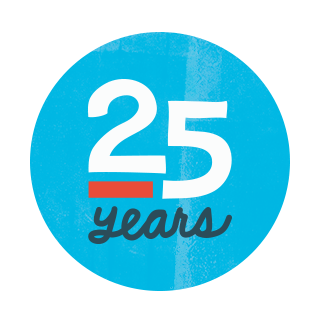 "A circular logo with a blue background and text reading ""25 Years."""