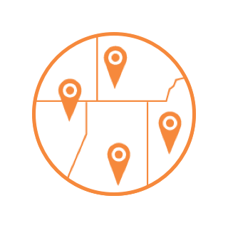 Orange circle icon with state lines outlined in a map format and pinpoints identified on the map.