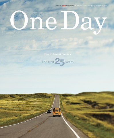 "The back of a yellow schoolbus driving far ahead on an open stretch of road, with green fields on eather side and a blue sky with white clouds over head, and the title ""One Day."""