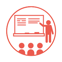 A circular icon with a white background and a red border, with an image of a figure teaching a class.